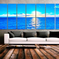 "XXLARGE 30""x 96"" 8 Panels Art Canvas Print Beach Blue Turquoise Sunset Wall Home office lobby Decor interior (Included framed 1.5"" depth)"