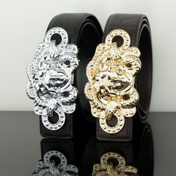 VERSACE Woman Fashion Smooth Buckle Belt Leather Belt