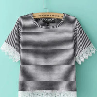 Short Sleeve Striped Lace Accent Cropped Top
