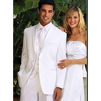 2016 New Arrival White Groom Tuxedos Men's Wedding Dress Prom Suits Wedding Suits For Men (Jacket+Pants+Tie+Vest) Custom Made