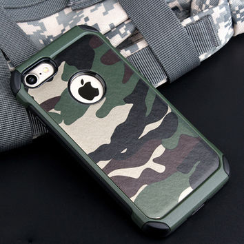 2in1 Armor Hybrid Plastic+TPU Army Camo Camouflage Rear Cover For iPhone 7 7 plus 6 6S 5 plus pecial Shockproof Angle Phone Case