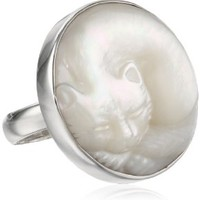 Sterling Silver Carved Mother-of-Pearl Sleeping Cat Ring, Size 7