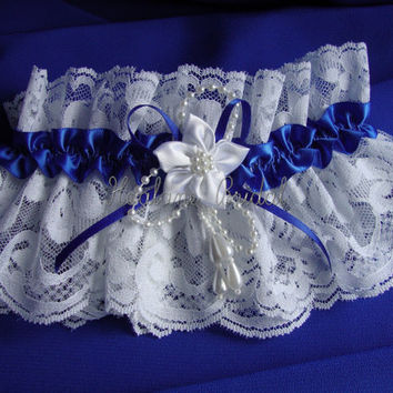 Lace Garter, Royal Blue lace Garter,  Blue  Bridal Garters