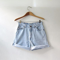 vintage washed out levis shorts / faded jean shorts / fold over shorts