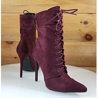 So Me Kayla Burgundy Wine Red Point Toe Lace Up High Heel Ankle Boot Shoe