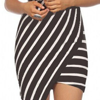Black Stripe Asymmetric Pencil Skirt