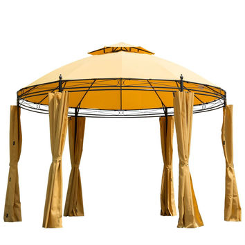 11-Ft Yellow/Orange Steel Outdoor Large Patio Gazebo Canopy with Curtains