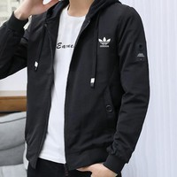 ADIDAS 2019 new trend fashion men's casual hooded jacket black