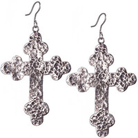 Gypsy Soule Women's Antiqued Silver Cross Earrings