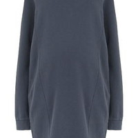 MATERNITY Washed Sweat Dress - Washed Blue