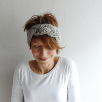 Knitted Headband Chunky Headband Ear Warmer Cabled Headband Head wrap in Stone Beige Taupe