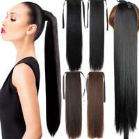 Straight Curly Ponytail Ponytail Band Highlights Hair Wigs