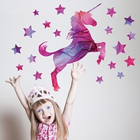Unicorn Wall Decal, Horse Decal, Star Decals, Eco Friendly Fabric Wall Stickers