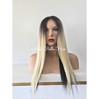 Ombre'  Blond Black lace front wig 20'