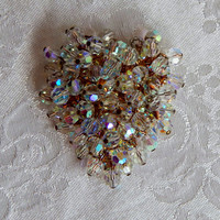 Vintage Aurora Borealis Crystal Heart Pin Domed Swarovski Clear AB Crystals Brooch- Great Mother's Day Gift
