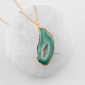 Slice Agate Druzy Pendant - Gemstone Pendant Necklace - Micron Gold Plated 925 Sterling Silver Necklace #6604