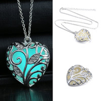 Turquoise Glow In the Dark Heart Necklace Pendant Christmas Gift for Daugher Mom