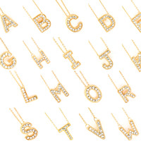 Small Crystal Initial Necklace - Gold