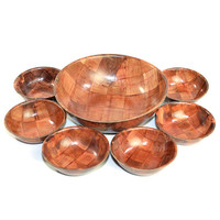 Retro Formosa Wooden Bowls Set (7 Pieces) - Large & Small Salad Serving Replacements Instant Collection - Vintage Home Kitchen