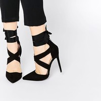 Lost | Lost Ink Catch Black Soft Tie Wrap Shoe at ASOS