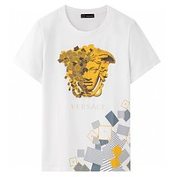 Versace classic personality geometric Medusa pattern T-shirt fashion men and women round neck short-sleeved tops