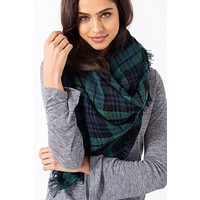 Cheer Up Blanket Scarf (Green Plaid)