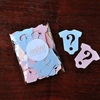 Gender Reveal Party Decorations 25CT. Onesuit Confetti. Question Marks.