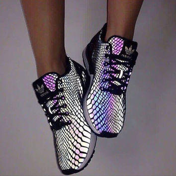 """""""Adidas"""" Zx Flux Reflective Chameleon Sneakers Sport Shoes"""