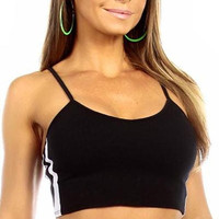 Sexy Neon Trim Warm Up Triple Stripe Work Out Fitness Crop Top - Black/White
