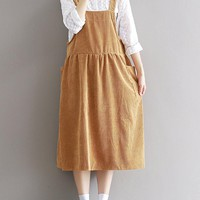 Casual Women Solid Color Strap Pockets Dress