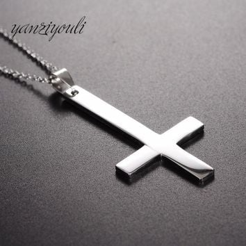 Fashion Simple Prayer Stainless Steel Cross Pendant Necklace Keel Chain for Men Women Harajuku Jewelry Punk Rap Male Necklace
