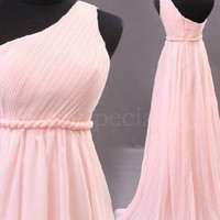 WowDresses — Adorable Pink A-line One-shoulder Sweep Train Prom Dress