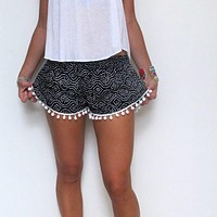Black and White Shorts for Women with Tassels