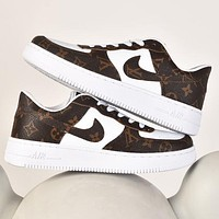 Nike Air Force 1 x Louis Vuitton LV new printed letters men's casual sneakers Shoes