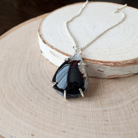 Natural, Black Agate Cabochon with Unique Crystal Formation, Gemstone Pendant in .925 Sterling Silver Prong Setting, Pear Shape Necklace