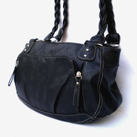 Black genuine leather shoulder bag leather messenger bag women tote travel bag leather purse bag gift for women vintage backpack bag