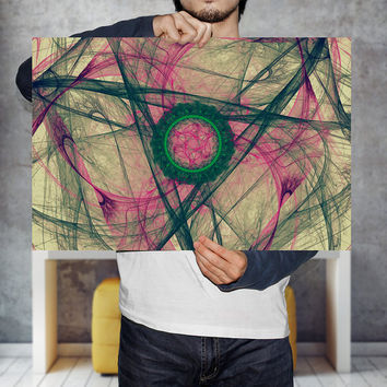 Medallion Nebula Wall Art Print - Green and Pink Abstract Energy Pattern Poster, Digital Download | Spectrum Geometry Wall Art by Mila Tovar