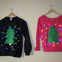 Couple's Light Up Ugly Christmas Sweater- Christmas Trees with LED Lights!!!