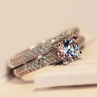 Victoria Wieck Classic Genuine Topaz simulated diamond 925 Sterling Silver Women Engagement Wedding Band Ring Set Sz 5-11 Gift