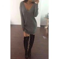 Oversized Grey Sweater Dress - Jaide Clothing