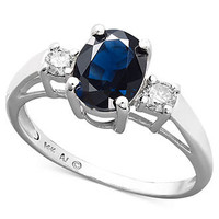 Sterling Silver Ring, Sapphire (1-1/2 ct. t.w.) and Diamond (1/5 ct. t.w.) Three Stone Ring - CYBER MONDAY SPECIALS - Jewelry & Watches - Macy's