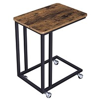 Slide Under Side Sofa Table with Caster Wheels, Black and Brown By Casagear Home