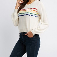 Heart Pattern Pullover Sweater | Charlotte Russe