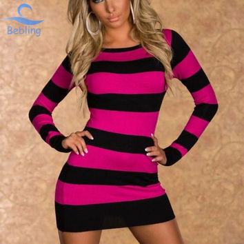 Free Shipping 2014 Fashion Women's Sheath Long Sleeve O-Neck Stripped Polyester Mini Sexy Clubwear Slim Autumn Dresses 19-039
