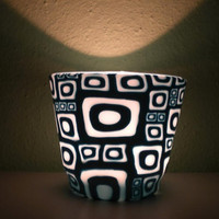 Mod Art Pattern on the Small Candle Holder...