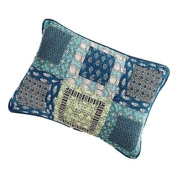 Tache Cotton Patchwork Teal Blue Green Paisley Bohemian Ocean Pillow Sham (JHW-888)