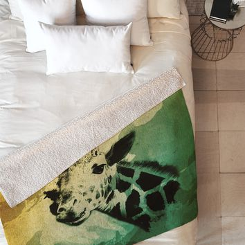 Allyson Johnson African Giraffe Fleece Throw Blanket