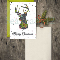 Christmas Card Deer & Christmas Wall Art  Deer , Merry Christmas Deer Printable , Holidays Decor ,  Print  , Holidays Digital card 5 Sizes