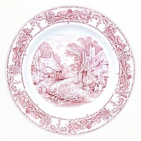 RARE Red Transferware Round Platter Tray Rural Scenes Thatched Cottage Mother Children Bee Skep