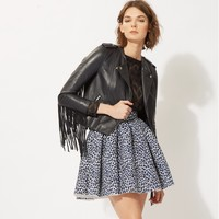 maje BOMBAY Lambskin leather jacket with fringes at Maje US